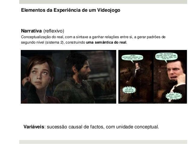 Elementos da Experiência de um Videojogo Narrativa (reflexivo) Conceptualização do real, com a sintaxe a ganhar relações e...
