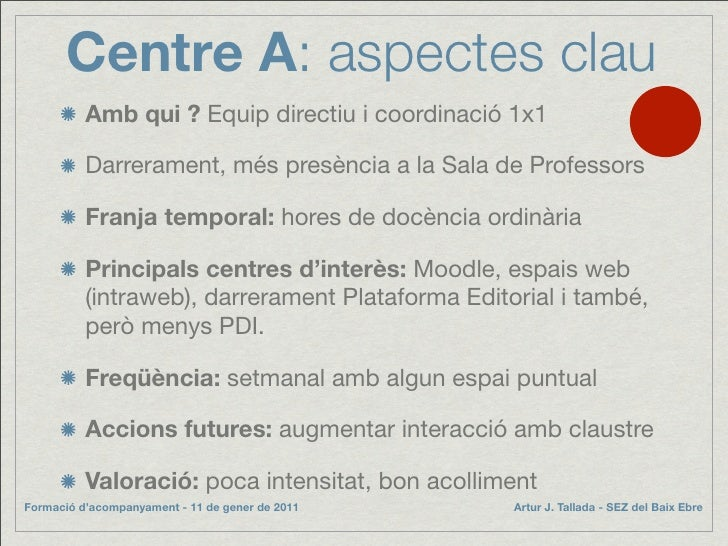 Centre A: aspectes clau           Amb qui ? Equip directiu i coordinació 1x1            Darrerament, més presència a la Sa...
