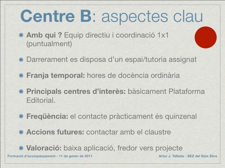 Centre B: aspectes clau           Amb qui ? Equip directiu i coordinació 1x1           (puntualment)            Darreramen...