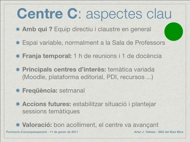 Centre C: aspectes clau           Amb qui ? Equip directiu i claustre en general            Espai variable, normalment a l...