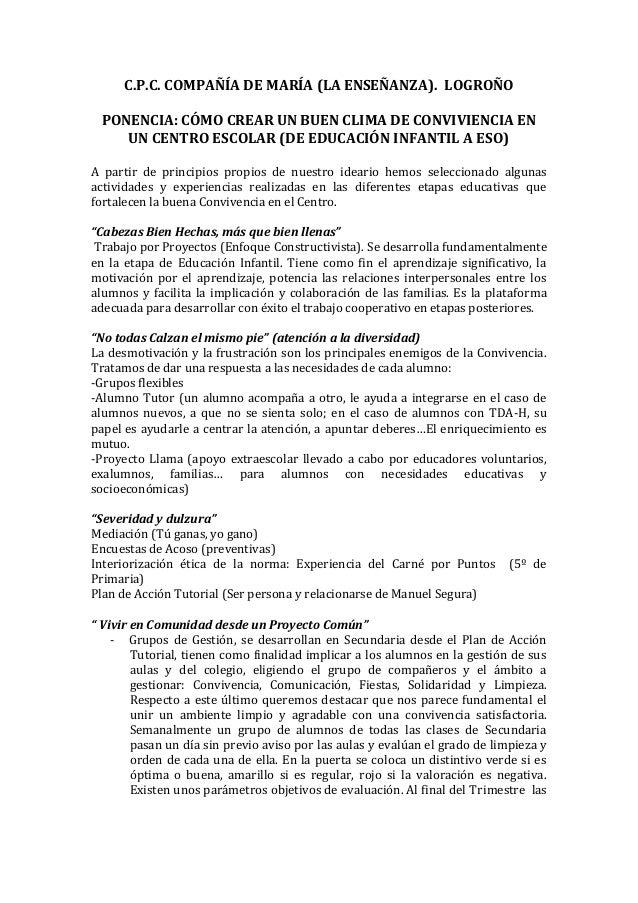 C.P.C. COMPAÑÍA DE MARÍA (LA ENSEÑANZA). LOGROÑO PONENCIA: CÓMO CREAR UN BUEN CLIMA DE CONVIVIENCIA EN    UN CENTRO ESCOLA...