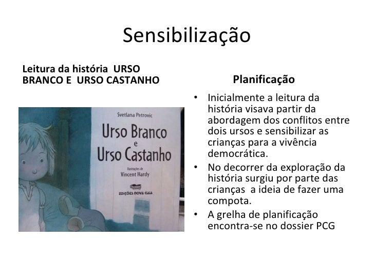 Sensibilização <ul><li>Leitura da história  URSO BRANCO E  URSO CASTANHO </li></ul><ul><li>Planificação </li></ul><ul><li>...