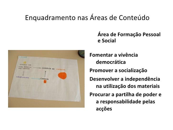Enquadramento nas Áreas de Conteúdo <ul><li>Área de Formação Pessoal e Social </li></ul><ul><li>Fomentar a vivência democr...