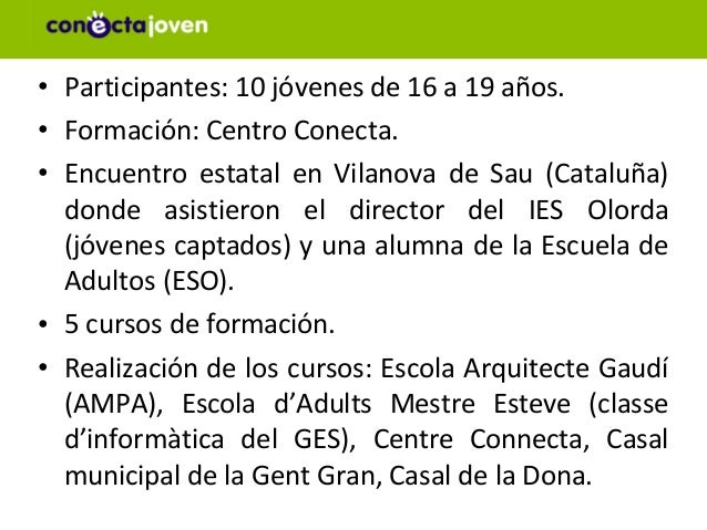 • Participantes: 10 jóvenes de 16 a 19 años.• Formación: Centro Conecta.• Encuentro estatal en Vilanova de Sau (Cataluña) ...