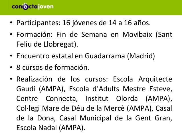 • Participantes: 16 jóvenes de 14 a 16 años.• Formación: Fin de Semana en Movibaix (Sant  Feliu de Llobregat).• Encuentro ...