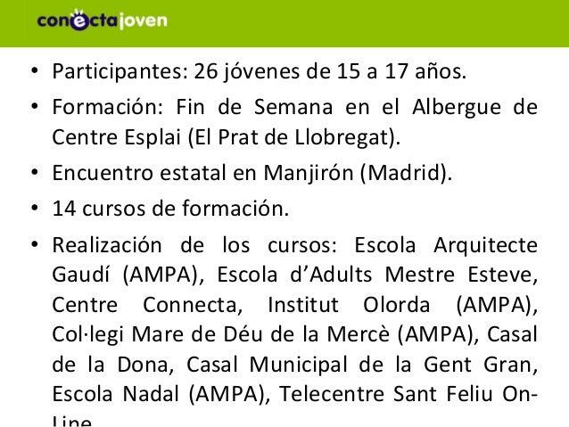 • Participantes: 26 jóvenes de 15 a 17 años.• Formación: Fin de Semana en el Albergue de  Centre Esplai (El Prat de Llobre...