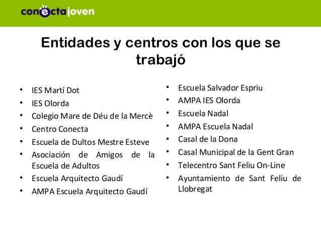 Entidades y centros con los que se                  trabajó• IES Martí Dot                     •   Escuela Salvador Espriu...