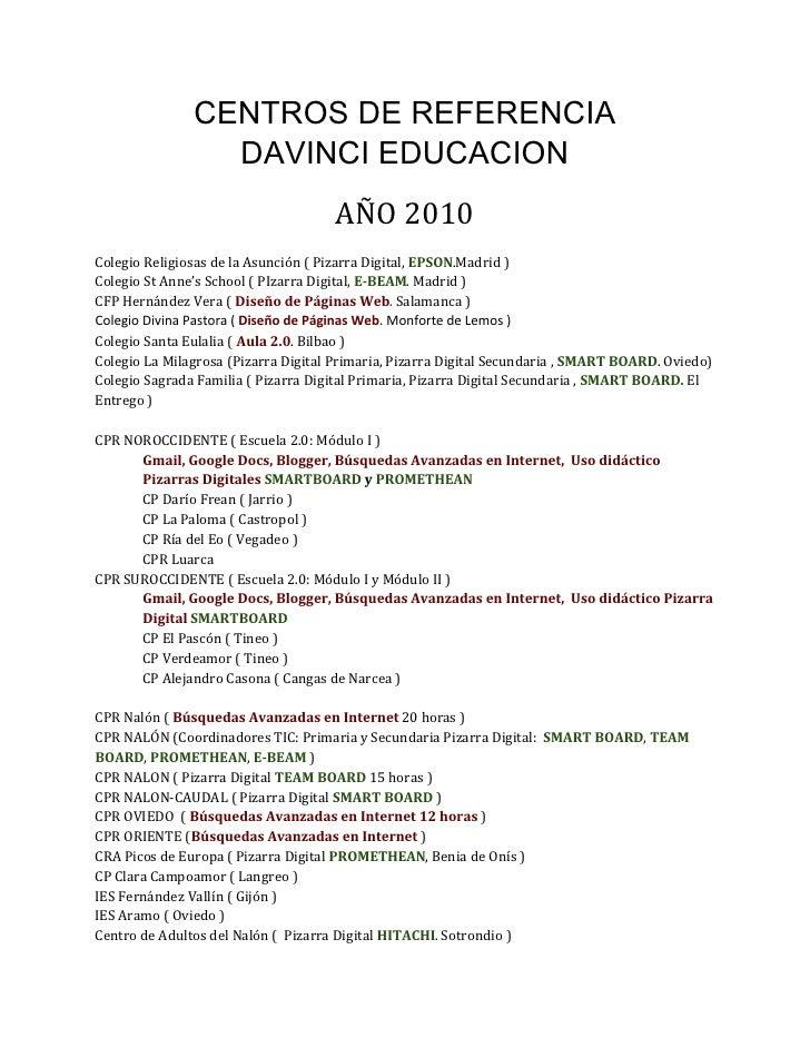 CENTROS DE REFERENCIA                  DAVINCI EDUCACION                                      AÑO 2010 Colegio Religiosas ...