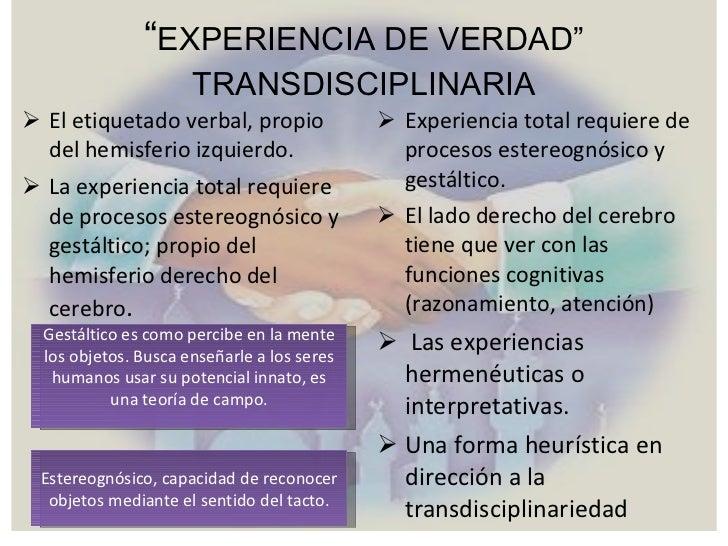 """"""" EXPERIENCIA DE VERDAD"""" TRANSDISCIPLINARIA <ul><li>El etiquetado verbal, propio del hemisferio izquierdo. </li></ul><ul><..."""