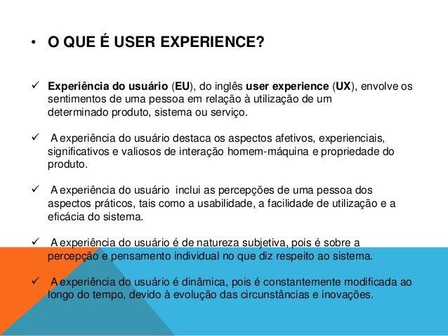 Experiencia do usuario Slide 2
