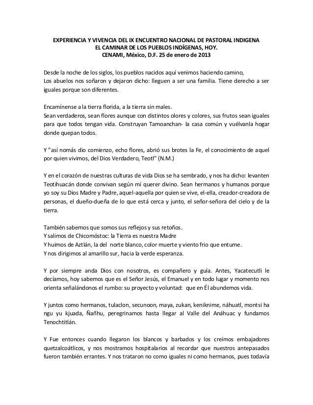 EXPERIENCIA Y VIVENCIA DEL IX ENCUENTRO NACIONAL DE PASTORAL INDIGENA                  EL CAMINAR DE LOS PUEBLOS INDÍGENAS...