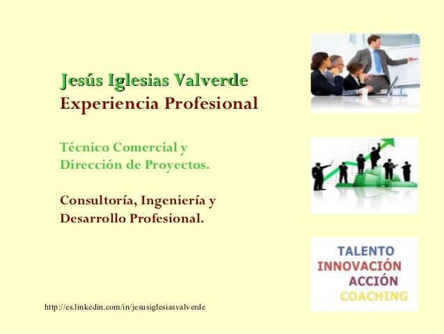Jesús Iglesias Valverde    Experiencia Profesional    Técnico Comercial y    Dirección de Proyectos.    Consultoría, Ingen...