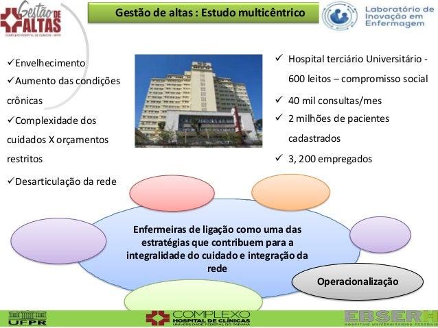 Gestão de altas : Estudo multicêntrico  Hospital terciário Universitário - 600 leitos – compromisso social  40 mil consu...