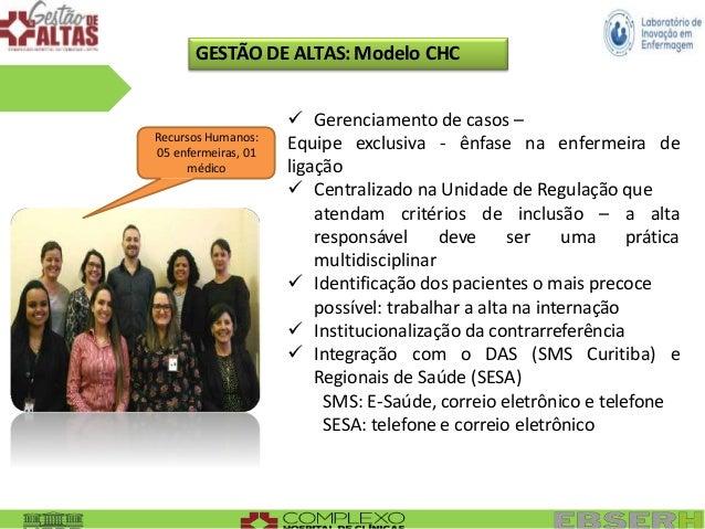 GESTÃO DE ALTAS: Modelo CHC Recursos Humanos: 05 enfermeiras, 01 médico  Gerenciamento de casos – Equipe exclusiva - ênfa...