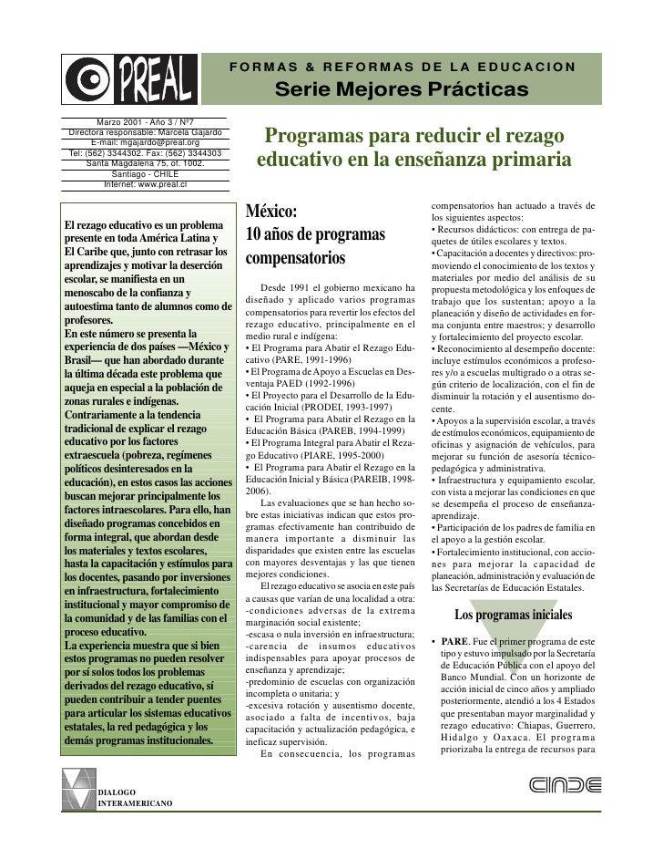 FORMAS & REFORMAS DE LA EDUCACION                                                   Serie Mejores Prácticas         Marzo ...
