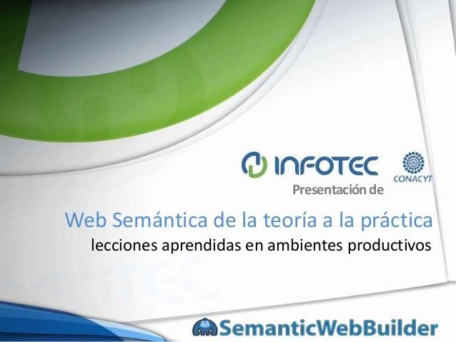Presentación de  Web Semántica de la teoría a la práctica lecciones aprendidas en ambientes productivos