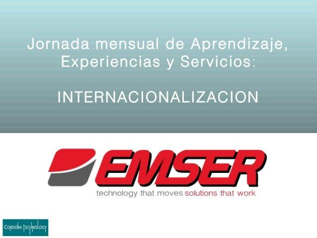 Jornada mensual de Aprendizaje,Experiencias y Servicios:INTERNACIONALIZACION