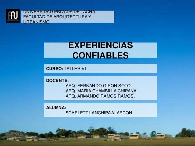 UNIVERSIDAD PRIVADA DE TACNA FACULTAD DE ARQUITECTURA Y URBANISMO CURSO: TALLER VI DOCENTE: ARQ. FERNANDO GIRON SOTO ARQ. ...
