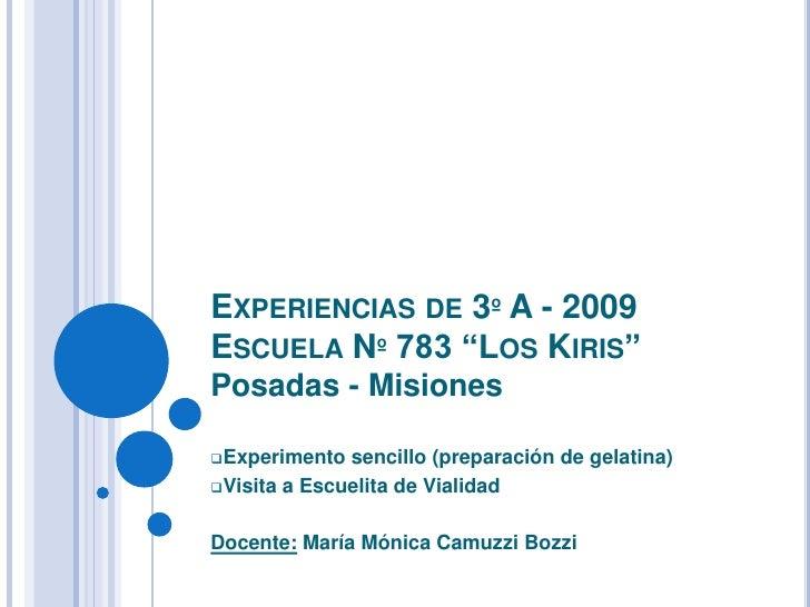 """Experiencias de 3º A - 2009Escuela Nº 783 """"Los Kiris""""Posadas - Misiones<br /><ul><li>Experimento sencillo (preparación de ..."""