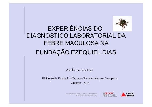 EXPERIÊNCIAS DO DIAGNÓSTICO LABORATORIAL DA FEBRE MACULOSA NA FUNDAÇÃO EZEQUIEL DIAS Ana Íris de Lima Duré III Simpósio Es...
