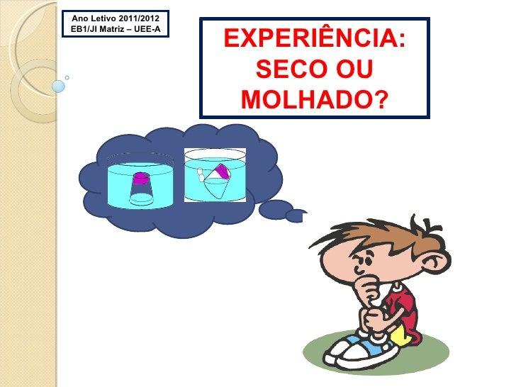 Ano Letivo 2011/2012 EB1/JI Matriz – UEE-A EXPERIÊNCIA: SECO OU MOLHADO?