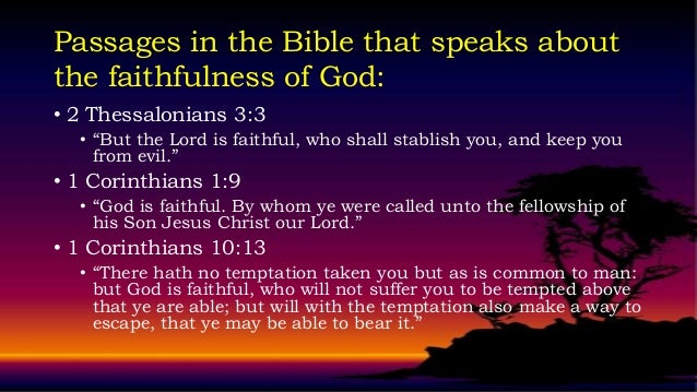 Experiencing God S Faithfulness
