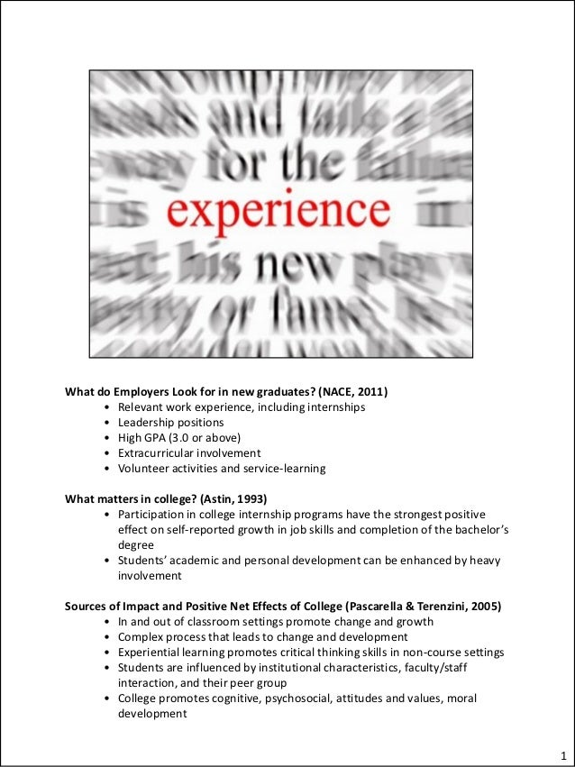 What do Employers Look for in new graduates? (NACE, 2011)      • Relevant work experience, including internships      • Le...
