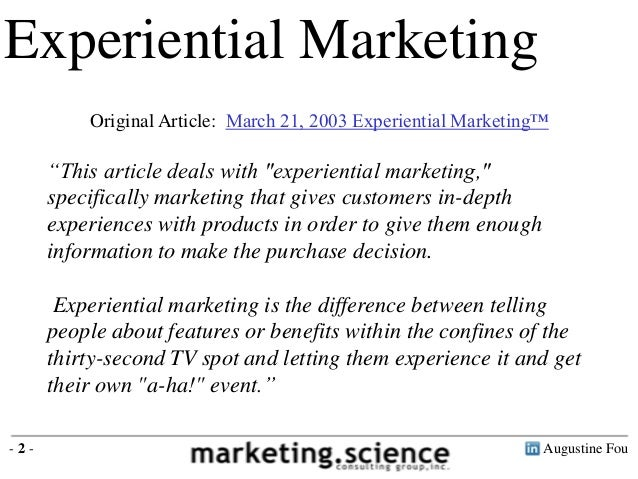 Experiential Marketing Examples by Augustine Fou