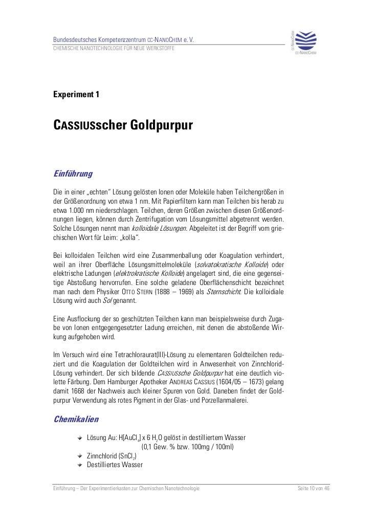 Bundesdeutsches Kompetenzzentrum CC-NANOCHEM e. V.CHEMISCHE NANOTECHNOLOGIE FÜR NEUE WERKSTOFFEExperiment 1CASSIUSscher Go...