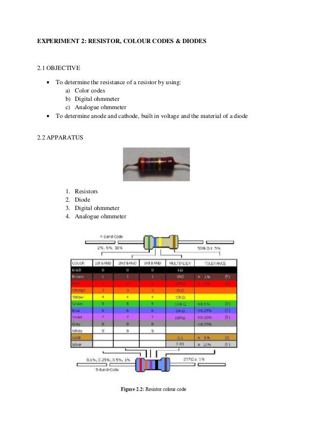 Experiment 2 Resistor Colour Codes And Diodes