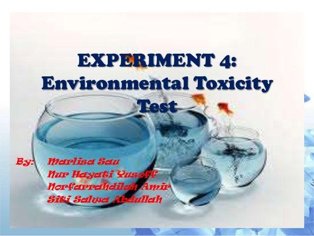 EXPERIMENT 4:      Environmental Toxicity              TestBy:   Marlisa Sau      Nur Hayati Yusoff      Norfarrahdilah Am...