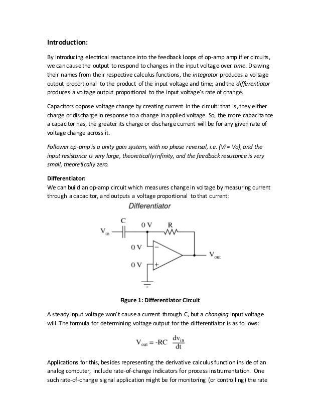 Integrator And Differentiator lab Manual