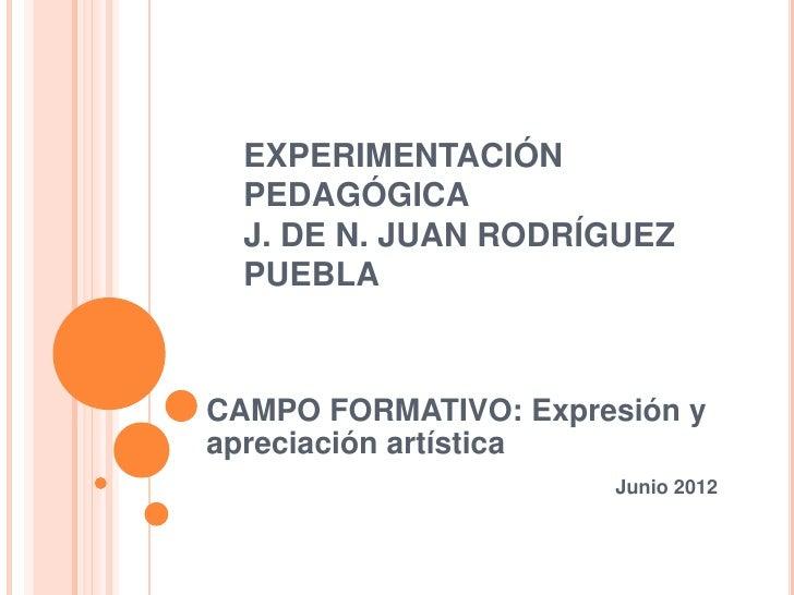 EXPERIMENTACIÓN  PEDAGÓGICA  J. DE N. JUAN RODRÍGUEZ  PUEBLACAMPO FORMATIVO: Expresión yapreciación artística             ...