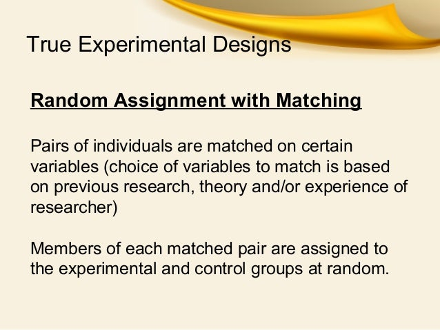 random assignment Random assignment is a term that is associated with true experiments (called controlled clinical trials in medical research) in which the effects of two or more treatments are compared with one another participants (respondents, subjects, etc) are allocated to treatment conditions in such a way that each participant has the same chance of being a member of a particular treatment group.