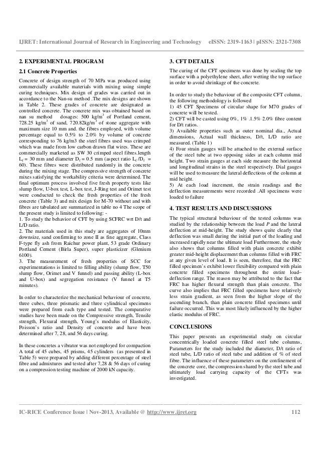 Experimental behavior of circular hsscfrc filled steel tubular columns under axial compression Slide 2