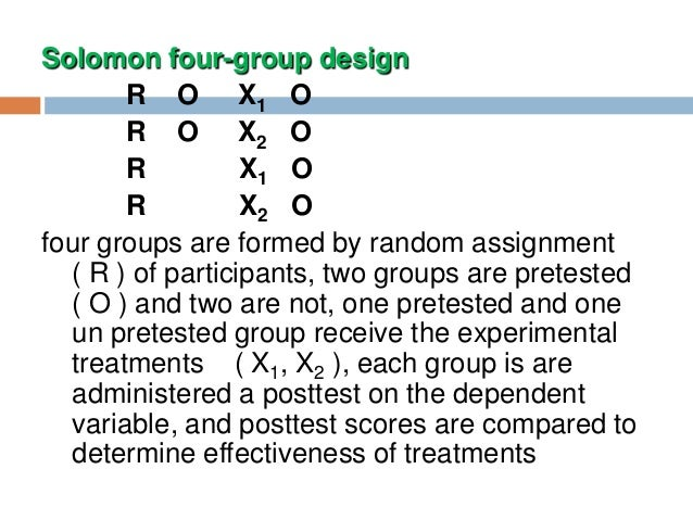 solomon four group design Group time random assignment group 1 pretest intervention posttest  group 2 pretest posttest solomon four-group design group time random.