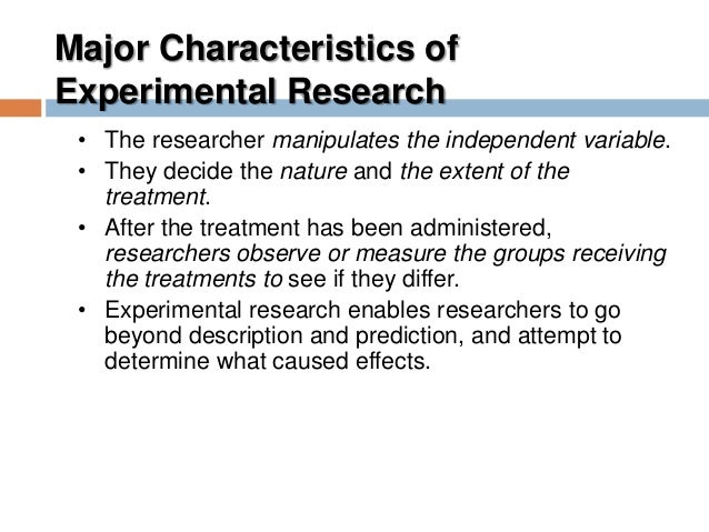 Aims of Experimental Research