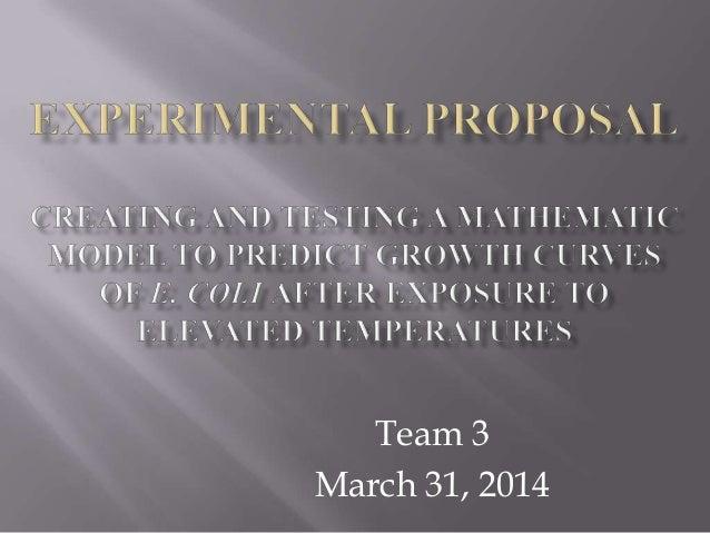 Team 3 March 31, 2014