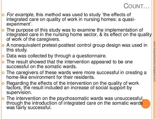 nursing essay quasi-experimental design David pickham is an assistant adjunct professor in the department of physiological nursing quasi-experimental study using a pretest/ posttest design.