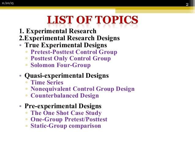 experimental topics