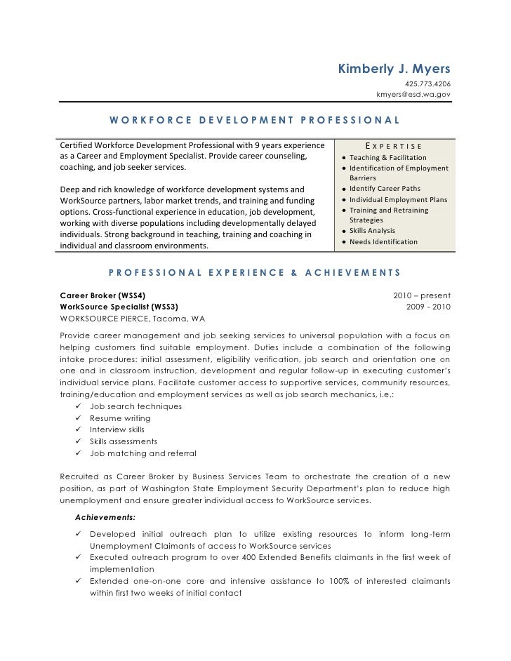 Workforce Development Resume - Training and development resume sample