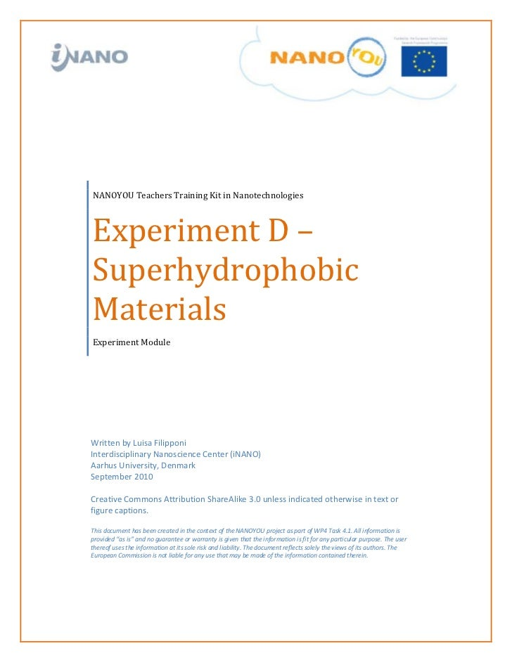 Experiment D –NANOYOU Teachers Training Kit in NanotechnologiesSuperhydrophobicMaterialsExperiment ModuleWritten by Luisa ...