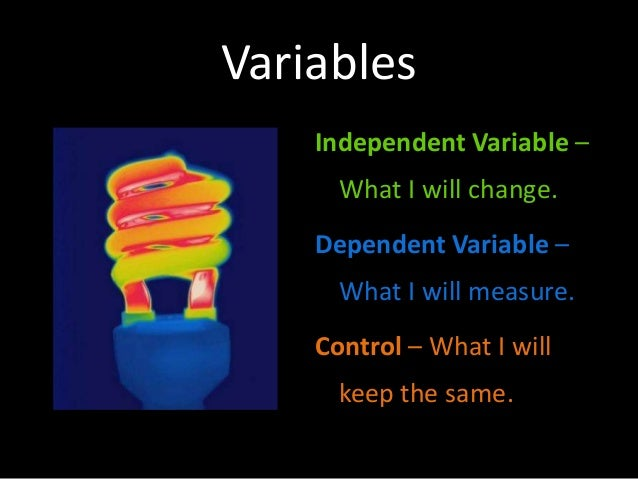 Variables Independent Variable – What I will change. Dependent Variable – What I will measure. Control – What I will keep ...