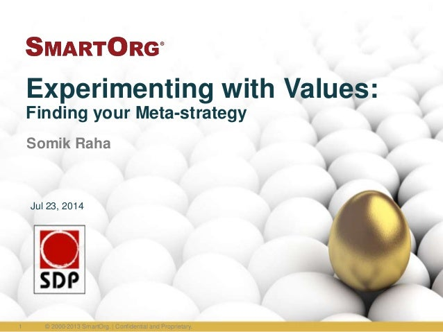Experimenting with Values: Finding your Meta-strategy Somik Raha © 2000-2013 SmartOrg. | Confidential and Proprietary.1 Ju...