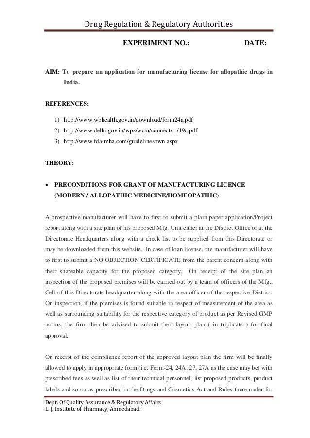 Drug Regulation U0026 Regulatory Authorities Dept. Of Quality Assurance U0026  Regulatory Affairs L. J. Institute Of ...