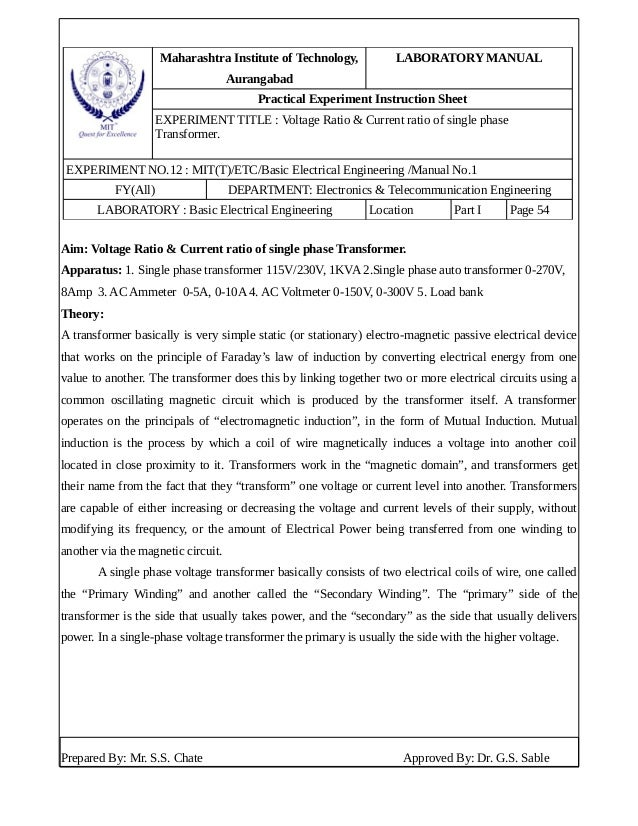 Maharashtra Institute of Technology, Aurangabad LABORATORY MANUAL Practical Experiment Instruction Sheet EXPERIMENT TITLE ...