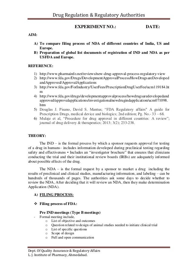 To compare filing process of NDA of different countries of India, US …