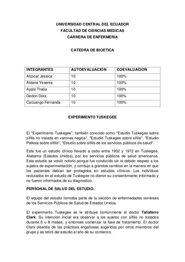 UNIVERSIDAD CENTRAL DEL ECUADOR FACULTAD DE CIENCIAS MEDICAS CARRERA DE ENFERMERIA CATEDRA DE BIOETICA INTEGRANTES AUTOEVA...