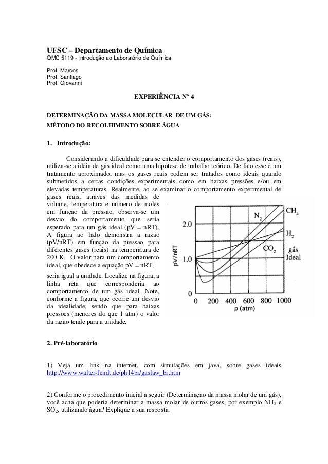 UFSC – Departamento de Química QMC 5119 - Introdução ao Laboratório de Química Prof. Marcos Prof. Santiago Prof. Giovanni ...