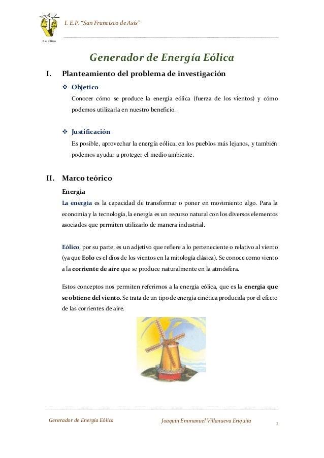 Proyecto de feria de ciencias i ep san francisco de ass 1 paz y bien generador de energa elica joaqun altavistaventures Image collections